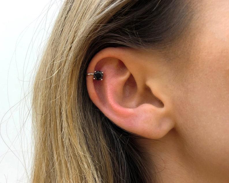 Black Ear Cuff No Piercing Silver Ear Cuff Conch Cuff Etsy