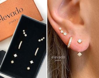 Everyday Earring Gift Set • Front Back Earrings• Huggie Hoop Earrings • earring set • gift ready • gift for her • gift for mom