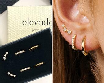 Huggie Hoop Earring Stack • gift for her • bridesmaid gift • gift for mom • christmas gift • tiny gold hoop earrings • minimalist earrings