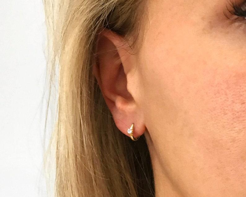 Huggie Hoop Earrings • small hoop earrings • tiny hoop earrings • dainty hoops • tiny hoops • huggie hoop earrings • rose gold • silver photo