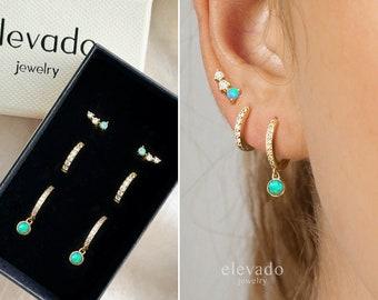 Blue Opal Dangle x CZ Earring Gift Set • stud earrings • hoop earrings • earring set • gift ready • gift for her • christmas gift • gift set