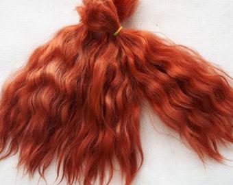 "Mohair Doll Hair color ultra black 8-12/"" in 0.35 oz locks angora DIY baby reborn"