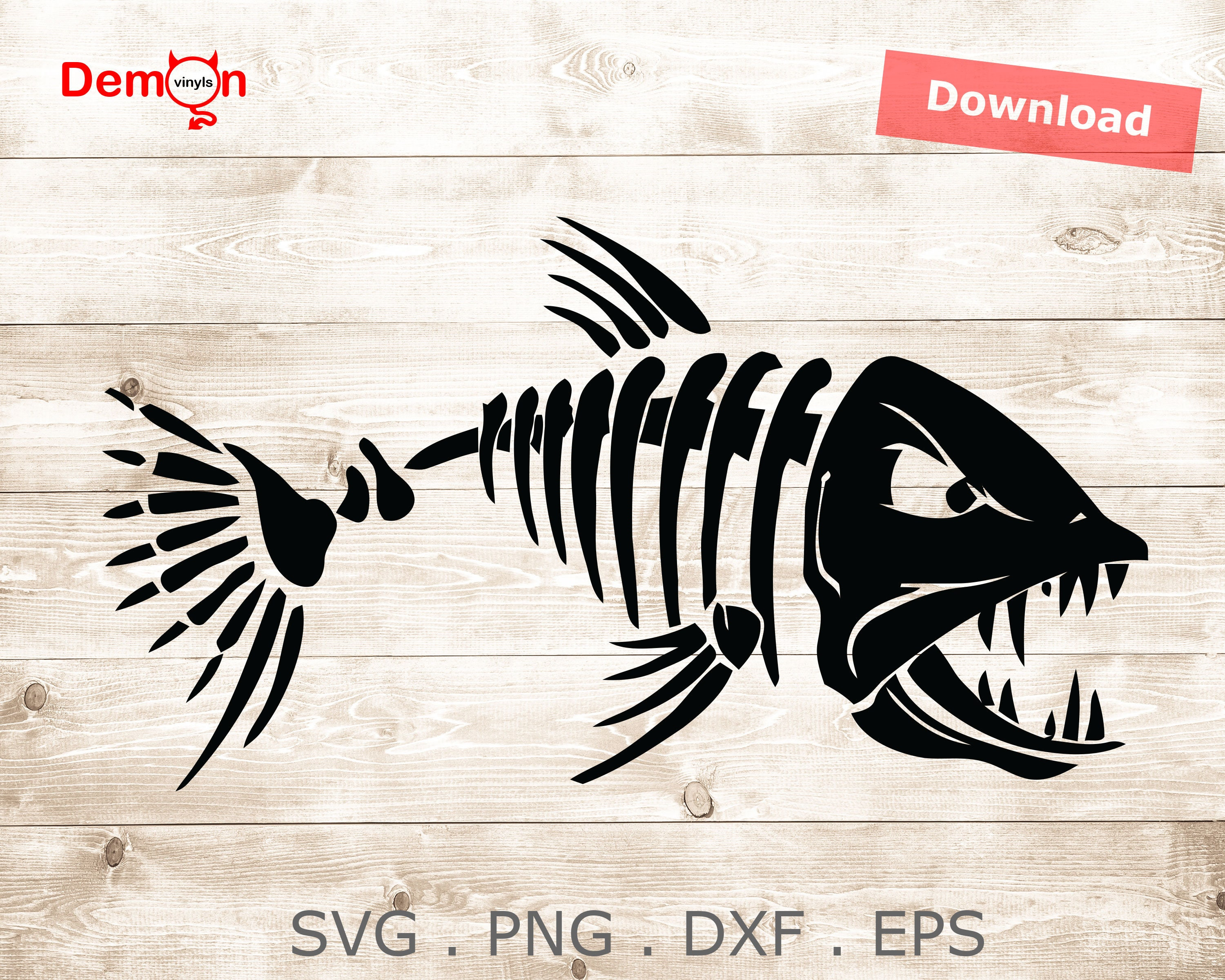 Download Angry Fish Skeleton Logo Fishing Svg Eps Png Dxf Vector Etsy