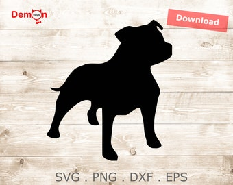 Staffy Staffordshire Bull Terrier Dog Cut File For Silhouette, Cricut, Cameo SVG png DXF EPS Instant File Download | Tshirt | Decals
