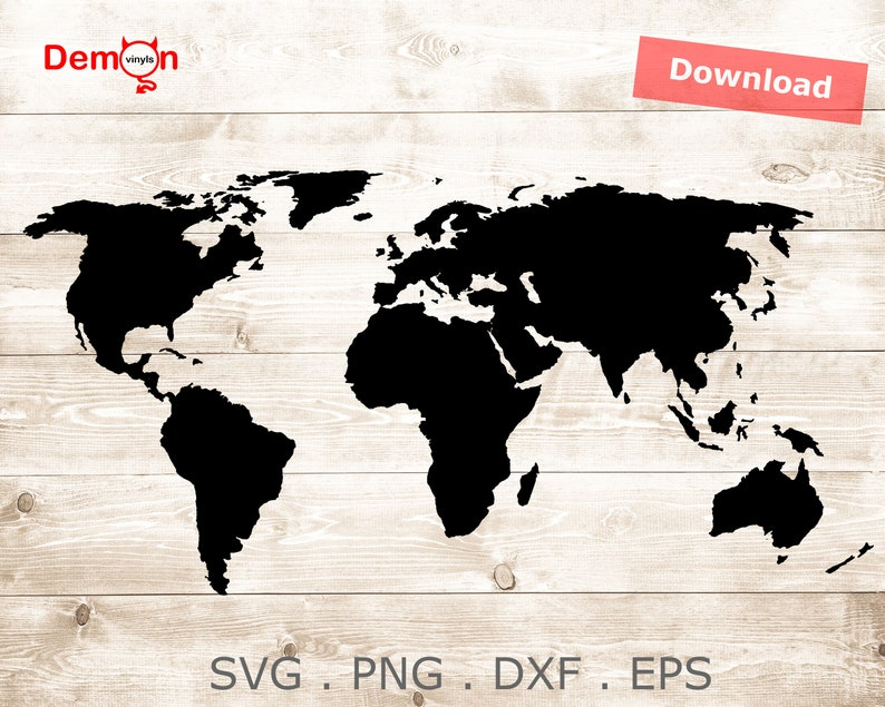 TShirt Cricut Decals The World Map Cut File For Silhouette Cameo SVG png DXF EPS Instant File Download