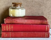 Vintage Red and Gold Decorative Book Set, Rustic Home Decor, Mid-Modern Books