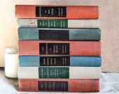 Vintage Modern Library Decorative Book Set, Mid-Century Home Decor, Shabby Books