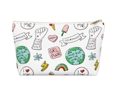 Feminist Accessory Pouch, Girl Power bag, Cosmetic bag, Toiletry bag, Pencil bag, Travel bag, Makeup bag, Accessory Pouch w T-bottom