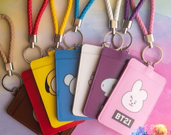 The Cheapest Price 1 Pcs Kawaii Kpop Bts Bangtan Boys Got7 Wanna One Twice Card Holder Card Keychain Lanyard Chain Strap Clip Stationery Desk Accessories & Organizer Office & School Supplies