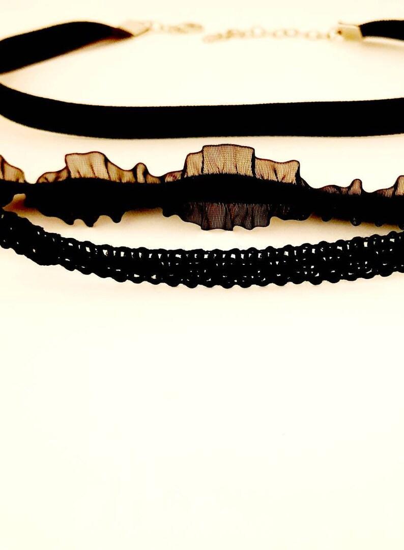 Black velvet choker CHOKER SET White choker Collar for women Necklace Set For Women Black ruffle stretch 3 PC set Crochet choker