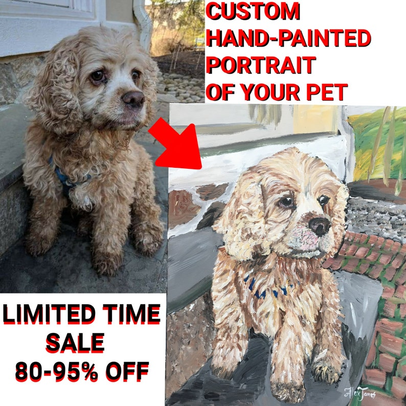 CUSTOM PET PORTRAIT  Original 100% hand painted from your image 0