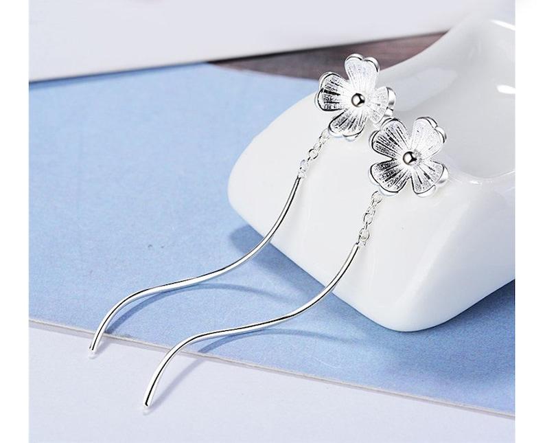 Flower 925 Sterling Silver Threader Earrings
