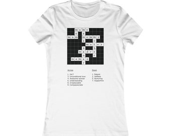 a8abe7dc2 Crossword Puzzle Checkered Mom shirt (Mother's day)- Women's Soft cotton  Tshirt