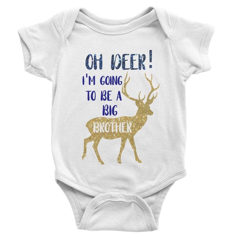 Oh Deer Big Brother or Sister Pregnancy Announcement Baby Bodysuit Sibling