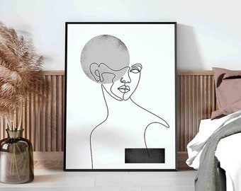 Black white woman©BEINANTANG/DorisciciArt.minimal woman line art,printable wall art,female poster,female figure art print,scandi art