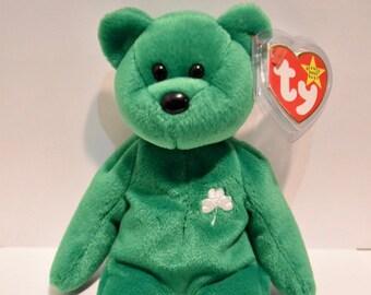 e296cd8d921 HTF Super Rare Ty 1997 Retired ERIN Bear Beanie Baby Errors P.E. Pellets.  Authentic Original. MINT Condition