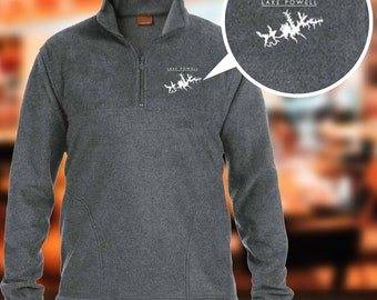 Lake Powell Map Embroidered Men/'s Fleece Full-Zip Warm Clothes, Winter Clothes