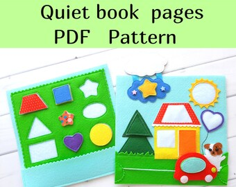 Shapes quiet book pattern , Felt activity book pdf  for kids, Montessori busy book template for toddler, Felt pattern PDF