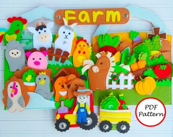 Farm Quiet book pattern for toddler, Busy book pattern pdf, Quiet book ideas