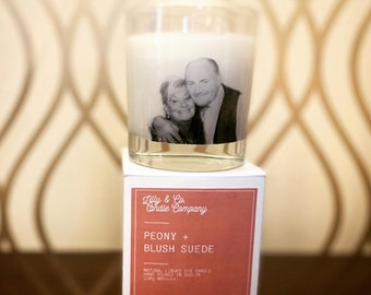 Personalised glass Soy Candles that look fantastic and smell beautiful too.