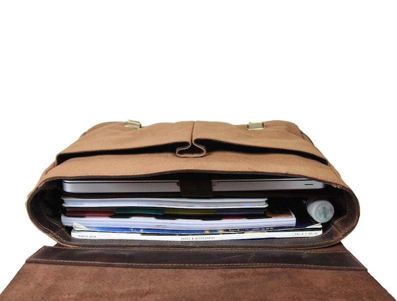 Aaron Messenger bag for men/'s brown Leather Briefcase Business satchel Bag Canvas by AaronLGstudio