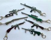 Gun Rifle Sniper Keychain Key Ring Firearm Keychain Ornament, Video Game Gift, Gun Lover Gift, AWM, AKM, S686, M16A4, AUG Model