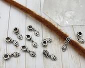 Sugar Skull Dread Bead Skull Beads Dread Bead Skull Charm Bracelet Wrap Extension Dreadlock Accessory Skull Necklace Pendant Silver Skull
