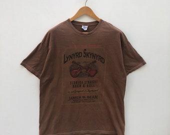 854d7ad7416da0 Lynyrd skynyrd by Hanes Heavyweight T Shirt Full Over Print Band Tee   0469-12