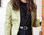 Vintage 90s long sleeve leather green cropped jacket.