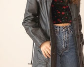Vintage 90s black leather jacket with belt