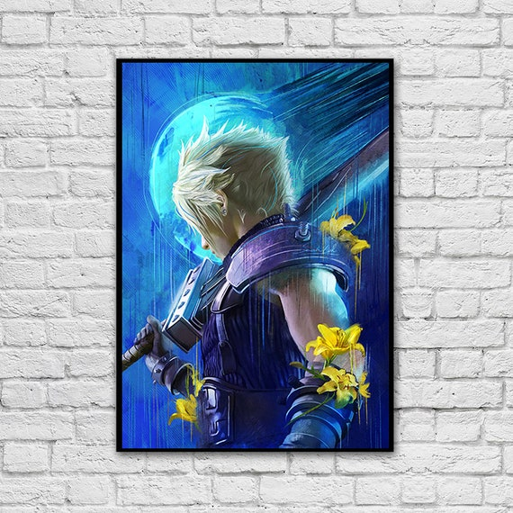 Cloud Strife Poster Free Sticker Included Artwork Painting Gaming Art Gift Wall Decor Bedroom Watercolor Home Decor Final Fantasy Vii 7