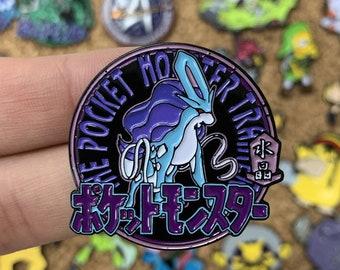 Suicune Pokemon Crystal Pocket Monsters Emblem Custom Enamel Pin, Pins, Pin Badge, Enamel Pins, Custom Enamel Pins, Limited Edition Pins