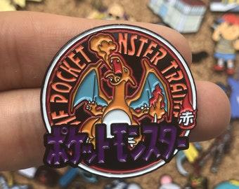 Charizard Pokemon Red Pocket Monsters Emblem Custom Enamel Pin, Pins, Pin Badge, Enamel Pins, Custom Enamel Pins, Limited Edition Pins, Bag