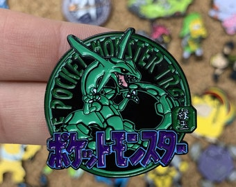 Rayquaza Pokemon Emerald Pocket Monsters Emblem Custom Enamel Pin, Pins, Pin Badge, Enamel Pins, Custom Enamel Pins, Limited Edition Pins