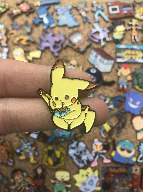 Pins Jigglypuff Eating Ramen Pokemon Custom Enamel Pin Pin Badge Bag Pins Enamel Pins Limited Edition Pins Hat Pin Custom Enamel Pins