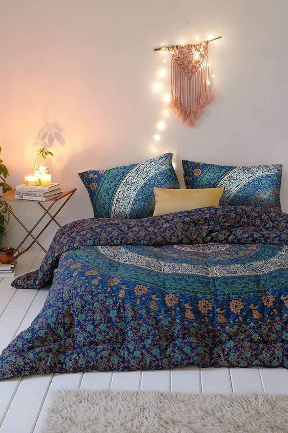 Indian Bohemian Hippie Mandala Bedding Set Queen Size Bedspreads Bed Cover Throw