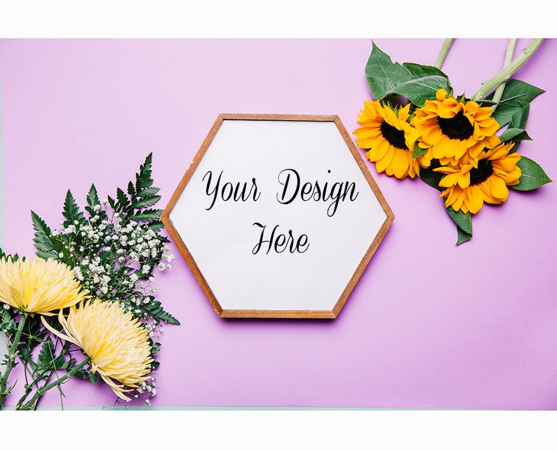 Sunflower Picture Frame White Daisy Flower Flat Lay Mockup Template JPG PDF Photoshop Use