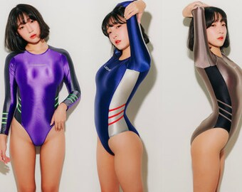 72a230cc31e31 LEOHEX Sexy Women Swimwear Japanese Sexy High Cut One Piece Long sleeve swimsuit  Suit Swim