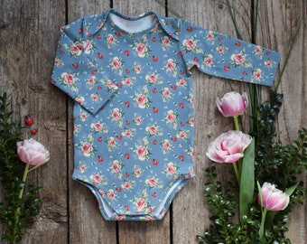 414e4fede 62 cm baby girl pink roses onesie, Baby girl flower bodysuit, Long sleeve  girl cotton onesie, Birthday gift onesie, Cute baby blue bodysuit