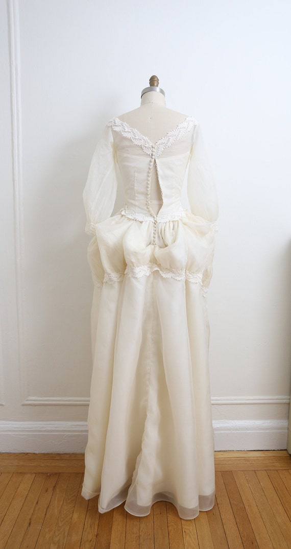 VINTAGE 1950's Wedding Gown and veil, Ivory long … - image 7