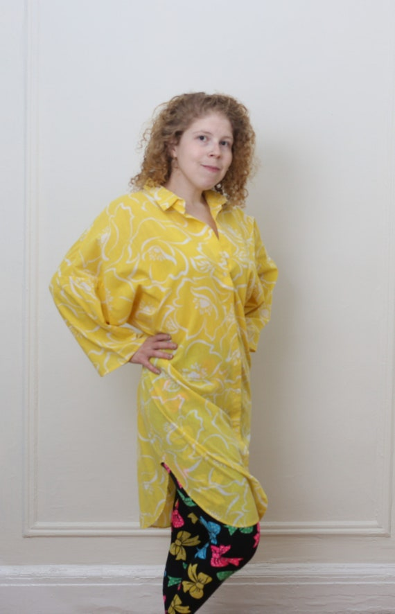 VINTAGE 1980'S/ 1990'S yellow duster/ long shirt/