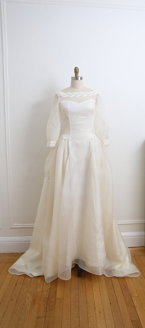 VINTAGE 1950's Wedding Gown and veil, Ivory long … - image 1