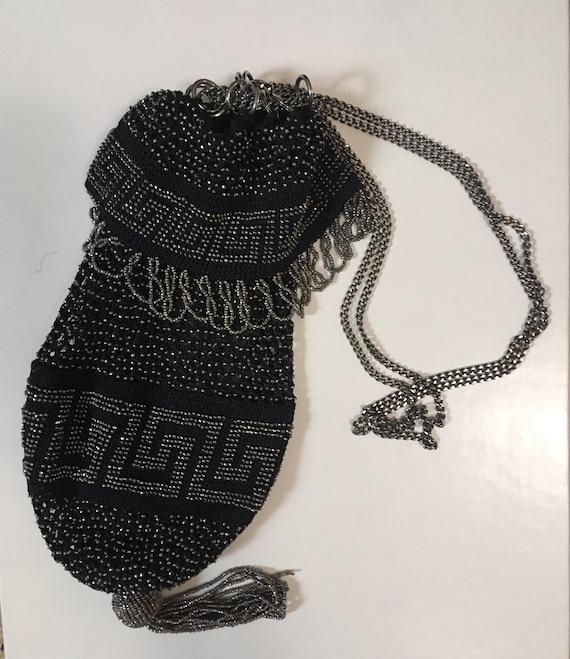 VINTAGE Black Crochet beaded reticule purse/ flapp