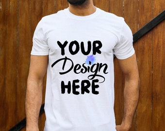 df01a6bbd55 White T Shirt Mockup Gildan Soft Style Mens Template for Sellers Cool Male  Model New Fashion