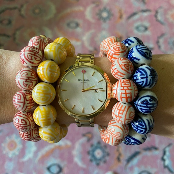 Vintage Handpainted Beaded Chinoiserie Bracelet -