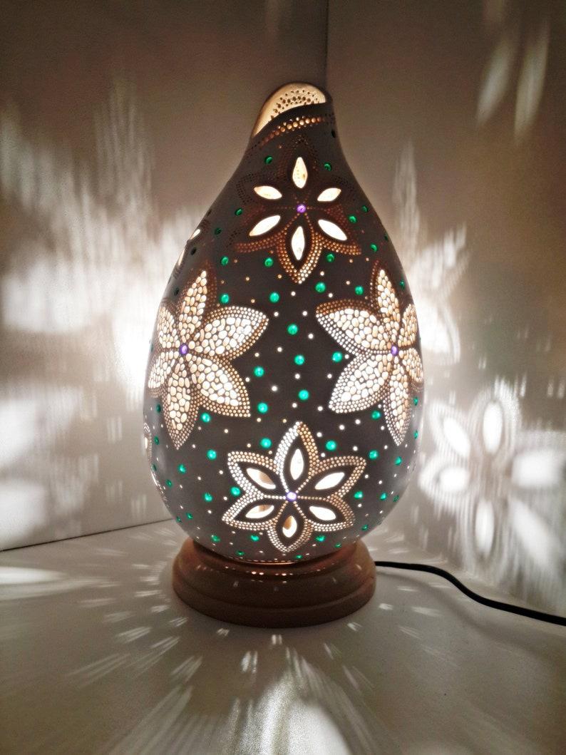 Handmade Carved Flower Gourd Lamp Etsy