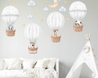 Hot Air Balloon Wall decal, Personalised wall sticker, Watercolor Safari animals Nursery wall decal, Jungle decor Wall art