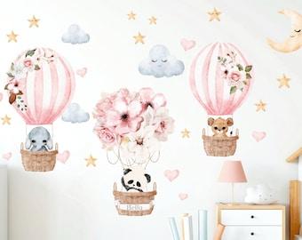 Hot Air Balloon Wall decal, Nursery decal Personalized Name, Watercolor Safari animals wall sticker, Baby girl, Jungle animal decor Wall art