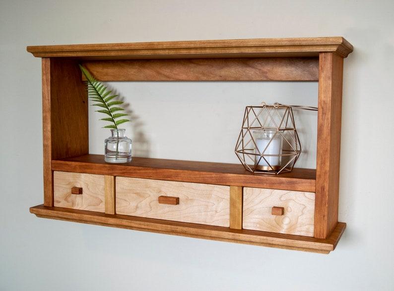 Cherry backless shelf with Maple Drawers  Organizer  Accent Shelf  Storage  Floating Shelf  Bookshelf  Ready to Ship