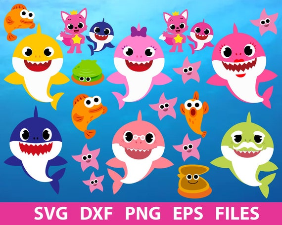 Shark svg, Baby Shark svg, Family shark SVG Files for Silhouette Cameo or Cricut, Commercial & Personal Use.